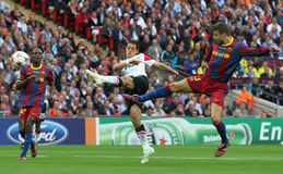 GBR: Football Champions League Final 2011. LONDON, ENGLAND. May 28 2011: Manchester's forward Javier Hernandez and Barcelona's defender Gerard Pique during the stock photography