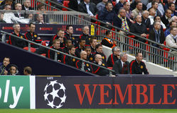 GBR: Football Champions League Final 2011. LONDON, ENGLAND. May 28 2011: The Manchester team bench during the 2011UEFA Champions League final between Manchester stock photography