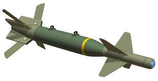 GBU24 Bomb. 3D rendering of a GBU24 smart bomb, isolated on white background Stock Photo