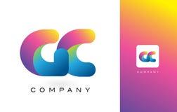 GC de Mooie Kleuren van Logo Letter With Rainbow Vibrant Kleurrijk t Stock Fotografie