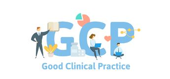 GCP, Good Clinical Practice. Concept with keywords, letters and icons. Flat vector illustration. Isolated on white. GCP, Good Clinical Practice. Concept with stock illustration