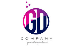 GD G D Circle Letter Logo Design with Purple Dots Bubbles Royalty Free Stock Photos