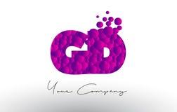 GD G D Dots Letter Logo com textura roxa das bolhas Fotos de Stock