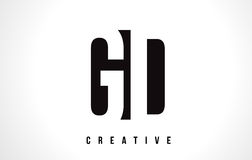 GD G D White Letter Logo Design with Black Square. Stock Photography