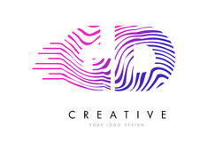 GD G D Zebra Lines Letter Logo Design with Magenta Colors Royalty Free Stock Photo