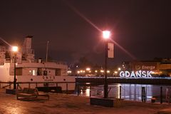 Gdańsk in the night scenery stock photography