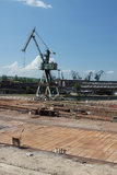 Shipbuilding crane. Gdańsk Shipyard dry dock royalty free stock photography