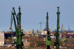 Gdańsk shipbuilding. Panorama City gdańsk detailing the area of shipbuilding Stock Images