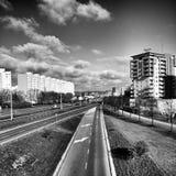 Gdańska Zaspy architektura Artystyczny spojrzenie w czarny i biały Obraz Royalty Free