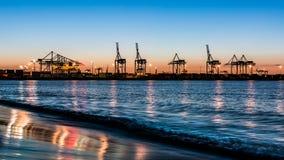 Gdański Północny port przy zmierzchem Obrazy Stock