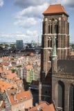 GDAŃSKI, POLSKA, SIERPIEŃ - 04, 2017: Pejzażu miejskiego widok z lotu ptaka na o Zdjęcia Royalty Free