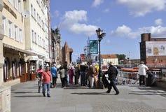 Gdański, Sierpień 25: Deptak na boku Motlawa rzeka w Gdańskim od Polska Fotografia Royalty Free