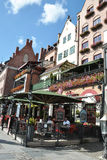 Gdański, Sierpień 25: Starzy domy na quay Motlawa rzeka w Gdańskim od Polska Obraz Royalty Free