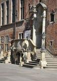 Gdański, Sierpień 25: Urzędu Miasta (Ratusz) wejściowy śródmieście w Gdańskim od Polska Zdjęcie Stock
