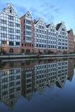 Gdańscy, ryglowi domy na rzecznym Motlawa, Zdjęcie Stock