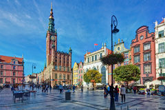 Gdansk. Long Market. Old Town. The Town Hall and Artus Court Royalty Free Stock Photos