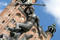 Gdansk. Statue of Neptune on the old market in Gdansk Royalty Free Stock Image