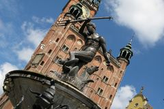Gdansk. Statue of Neptune on the old market in Gdansk Stock Images