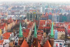 Gdansk aerial view from the dome of St Mary`s Church, Poland.  royalty free stock images