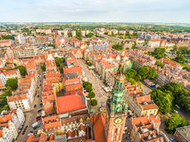 Gdansk - aerial view of the old town. Landscape of Gdansk with the Long Market, the tower of the Historical Museum. Royalty Free Stock Photos