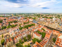 Gdansk from the air - old town. City landscape with horizon and river Motlawa. Tourist attractions and monuments of cities of Gdansk seen from the air. Photos royalty free stock image