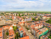 Gdansk from the air. Old town overlooking the street. Long Market, Green Gate and Chlebnicky and Granary Island. Photos of drones. Aerial view of Gdansk with stock photography