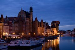 Gdansk-alte Stadt nachts Lizenzfreie Stockfotos