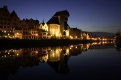 Gdansk-alter Kanal nachts Stockfoto