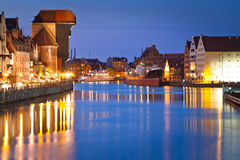 Gdansk with ancient crane at night. Old town of Gdansk with ancient crane at night, Poland Royalty Free Stock Photography