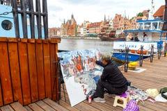 gdansk Artysta na środkowym nabrzeżu Zdjęcia Stock