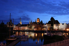 Gdansk bij nacht Royalty-vrije Stock Foto's