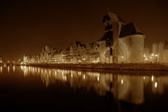 Gdansk bij nacht Royalty-vrije Stock Foto