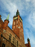 Gdansk. Brick clock tower rushes up Royalty Free Stock Images