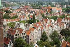 Gdansk buildings from above. This picture is taken from the Gdansk City Hall tower facing the crane. It shows the colourful historic houses in the Old Town Stock Image