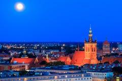Gdansk. Catholic church of St. Catherine at night. Royalty Free Stock Photo