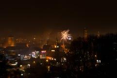 Gdansk celebra Año Nuevo con los fuegos artificiales de la víspera Foto de archivo libre de regalías