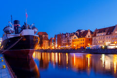 Gdansk. Central embankment at night. Royalty Free Stock Image