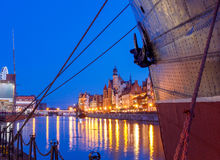 Gdansk. Central embankment at night. Stock Images
