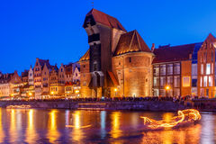 Gdansk. Central embankment at night. Royalty Free Stock Photos