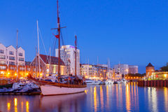 Gdansk. Central embankment at night. Royalty Free Stock Images