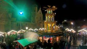 Gdansk Christmas Market in Gdansk at night. stock footage
