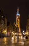 The Gdansk city hall. At night Stock Photos