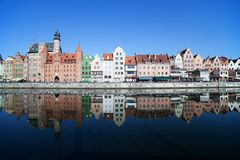 Gdansk City River View In Poland. Old Town skyline with reflection in water Royalty Free Stock Photo