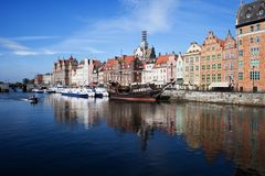 Gdansk City River View in Poland. Old Town skyline Stock Image