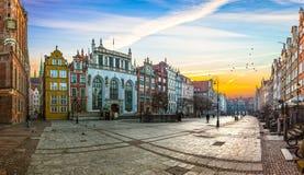 Gdansk city on sunrise stock images