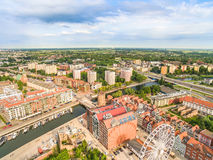 Gdansk - cityscape of the bird`s eye view. New Motlawa and StÄ…giewna gate and buildings of Granary Island. Photos of drones. Aerial view of Gdansk with old royalty free stock photo