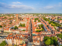 Gdansk - cityscape of the bird`s eye view. Old town with DÅ'uga street in the center. Tourist attractions and monuments of cities of Gdansk seen from the air royalty free stock photos