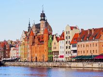 Gdansk Cityscape and Moltawa River in Poland Stock Photos