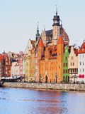 Gdansk Cityscape and Moltawa River in Poland Royalty Free Stock Photos