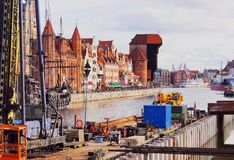 Gdansk Cityscape and Moltawa River in Poland Stock Images